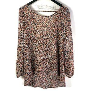 Charming Charlie Floral Open Back High Low Blouse